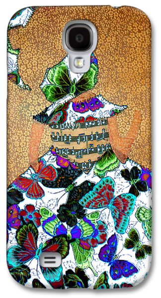 Kim Tapestries - Textiles Galaxy S4 Cases - Lady with Umbrella 1 Galaxy S4 Case by Kim Peto