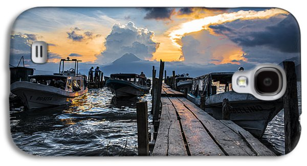 Docked Boat Galaxy S4 Cases - Lake Atitlan Galaxy S4 Case by Yuri Santin