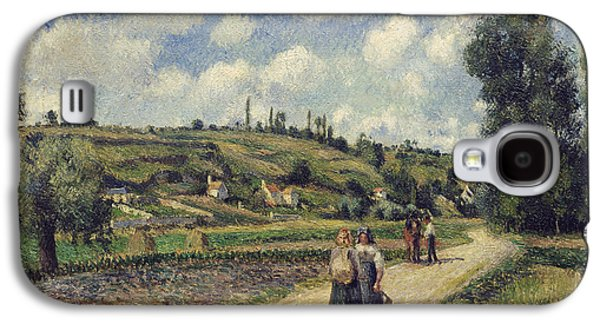Street Paintings Galaxy S4 Cases - Landscape near Pontoise Galaxy S4 Case by Camille Pissarro