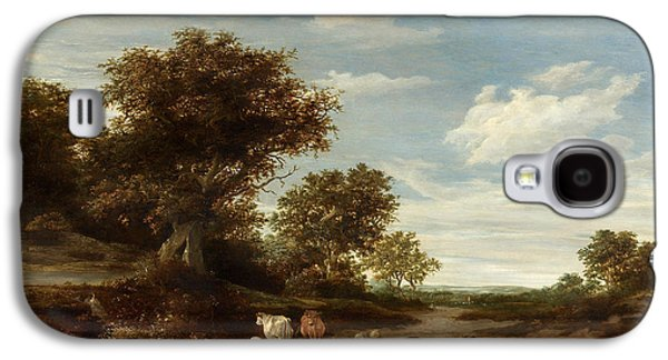 Landscape With Mountains Galaxy S4 Cases - Landscape with gracing cows and sheep Galaxy S4 Case by Jacob Salomonsz van Ruysdael