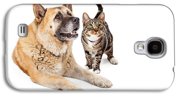Working Breed Galaxy S4 Cases - Large Dog and Cat Looking Up Together Galaxy S4 Case by Susan  Schmitz