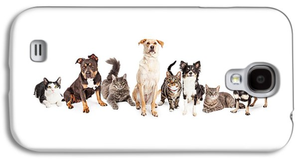 Cutouts Galaxy S4 Cases - Large Group of Cats and Dogs Together Galaxy S4 Case by Susan  Schmitz