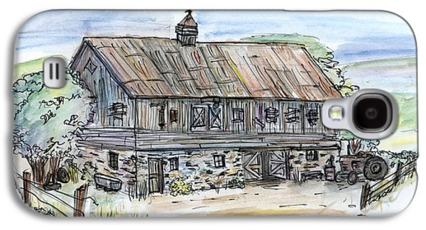 Old Barn Drawing Galaxy S4 Cases - Large Old Barn Galaxy S4 Case by Albert Calzetta