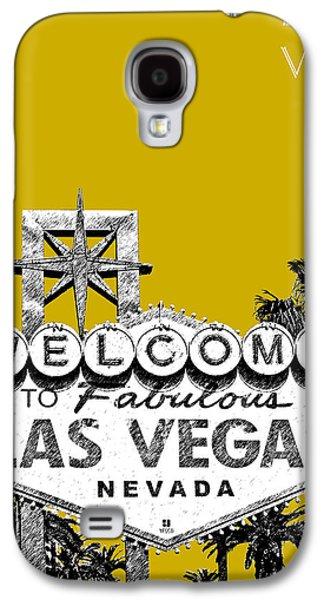 Las Vegas Art Galaxy S4 Cases - Las Vegas Welcome to Las Vegas - Gold Galaxy S4 Case by DB Artist
