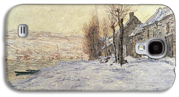 Snow Paintings Galaxy S4 Cases - Lavacourt under Snow Galaxy S4 Case by Claude Monet