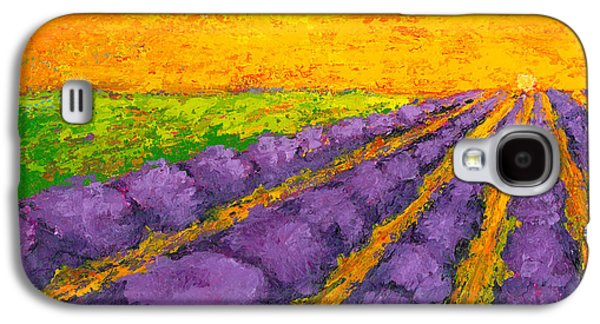 Lavender Field A Modern Impressionistic Artwork In Palette Knife Galaxy S4 Case by Patricia Awapara