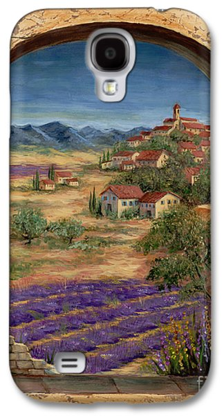 Mediterranean Landscape Galaxy S4 Cases - Lavender Fields and Village of Provence Galaxy S4 Case by Marilyn Dunlap