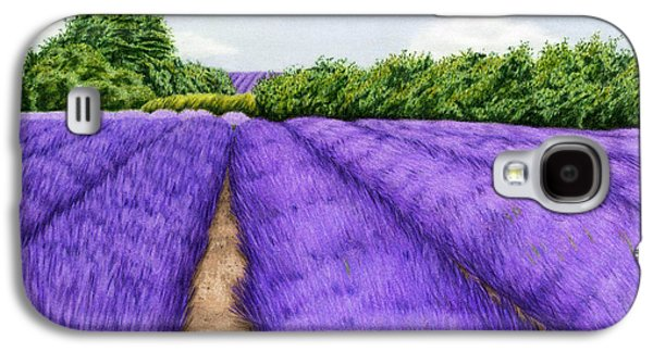 Autumn Landscape Drawings Galaxy S4 Cases - Lavender Fields Galaxy S4 Case by Sarah Batalka