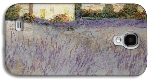 Field Paintings Galaxy S4 Cases - Lavender Galaxy S4 Case by Guido Borelli