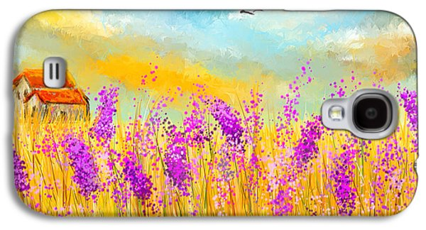 Recently Sold -  - Sunset Abstract Galaxy S4 Cases - Lavender Memories - Lavender Field Art Galaxy S4 Case by Lourry Legarde