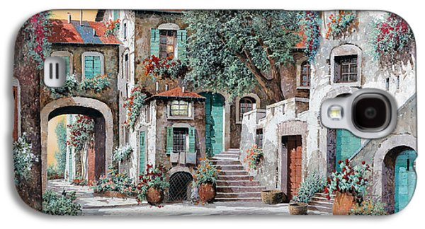 Village Paintings Galaxy S4 Cases - Le Scale Tra Le Case Galaxy S4 Case by Guido Borelli