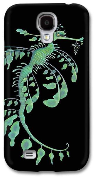 Leafy Sea Dragon Galaxy S4 Cases - Leafy on Black Galaxy S4 Case by Michelle Lackey