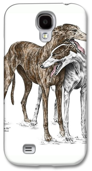 Lean On Me - Greyhound Dogs Print Color Tinted Galaxy S4 Case by Kelli Swan