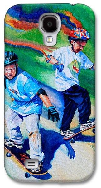 Kids Sports Art Galaxy S4 Cases - Leaping Lizards Galaxy S4 Case by Hanne Lore Koehler