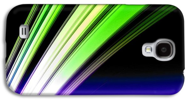 Planet System Paintings Galaxy S4 Cases - Leaving Saturn in Cobalt and Lime Galaxy S4 Case by Pet Serrano