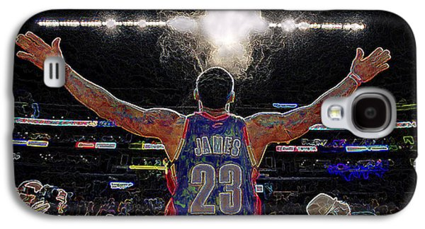 Nike Digital Galaxy S4 Cases - Lebron James Chalk Toss Basketball Art Landscape Painting Galaxy S4 Case by Andres Ramos