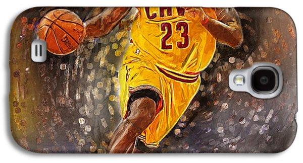 Kobe Bryant Wall Art Galaxy S4 Cases - Lebron James Galaxy S4 Case by Semih Yurdabak