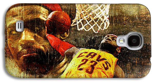 Lebron Paintings Galaxy S4 Cases - LeBron Sets The Tone Galaxy S4 Case by John Farr