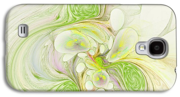 Surreal Geometric Galaxy S4 Cases - Lemon Lime Curly Galaxy S4 Case by Deborah Benoit