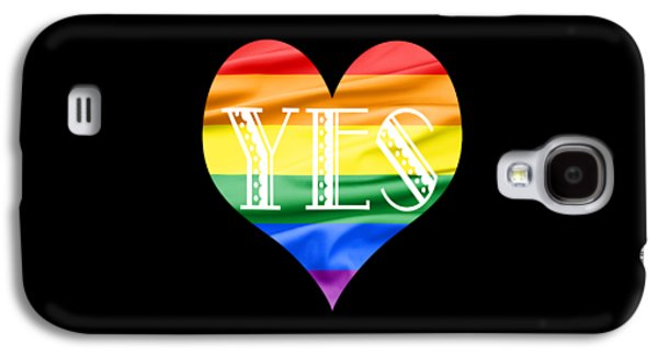 Green Galaxy S4 Cases - LGBT Heart with a Big Fat Yes Galaxy S4 Case by Semmick Photo