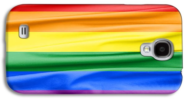 Green Galaxy S4 Cases - LGBT Rainbow Banner Galaxy S4 Case by Semmick Photo
