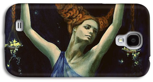 Constellations Paintings Galaxy S4 Cases - Libra from Zodiac series Galaxy S4 Case by Dorina  Costras