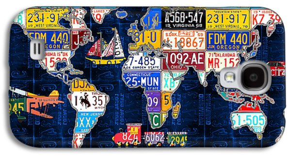 Industrial Mixed Media Galaxy S4 Cases - License Plate Map of the World Travel Recycled Vintage Art with Augustine Quote Galaxy S4 Case by Design Turnpike