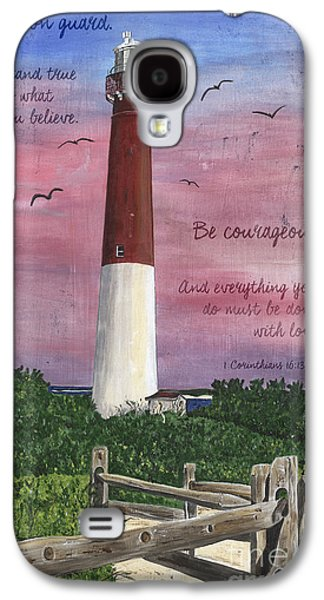 Fence Paintings Galaxy S4 Cases - Lighthouse Inspirational Galaxy S4 Case by Debbie DeWitt