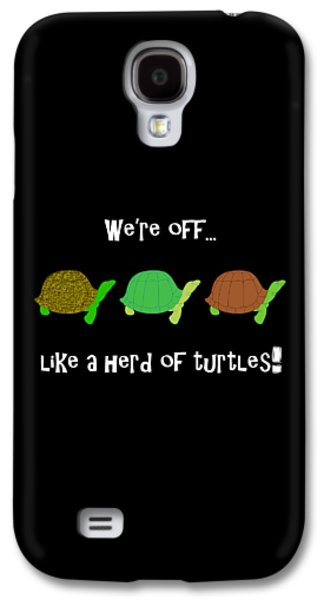 Reptiles Digital Galaxy S4 Cases - Like A Herd Of Turtles Galaxy S4 Case by Methune Hively