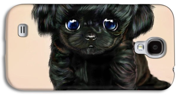 Puppies Digital Art Galaxy S4 Cases - Lil Miss Curly Q Galaxy S4 Case by Ellen Dawson