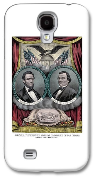 Abraham Lincoln Galaxy S4 Cases - Lincoln and Johnson Election Banner 1864 Galaxy S4 Case by War Is Hell Store