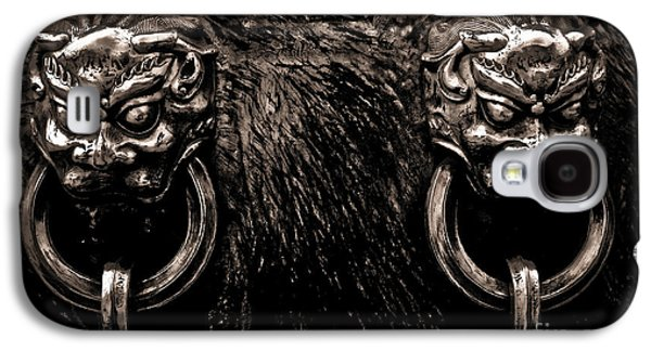 Relief Sculpture Galaxy S4 Cases - Lion Head Handle Galaxy S4 Case by Venetta Archer