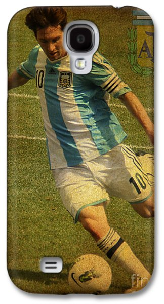 Clash Of Worlds Galaxy S4 Cases - Lionel Messi Kicking IV Galaxy S4 Case by Lee Dos Santos
