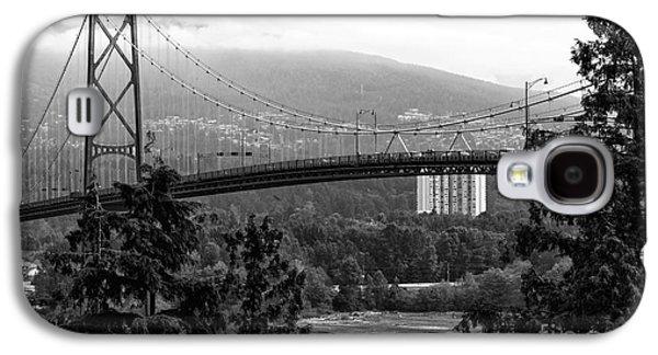 Burrard Inlet Galaxy S4 Cases - Lions Gate Bridge mono Galaxy S4 Case by John Rizzuto