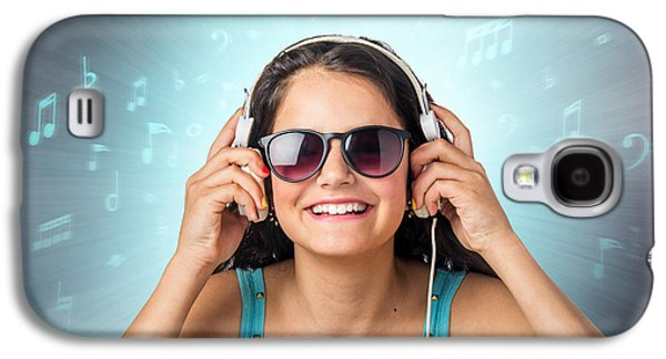 Studio Photographs Galaxy S4 Cases - Listening with Headset Galaxy S4 Case by Carlos Caetano