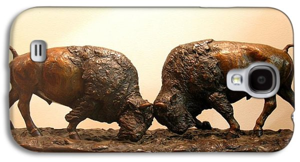 Bison Sculptures Galaxy S4 Cases - Litigation  Bronze sculpture of two American Bison Bulls Fighting Galaxy S4 Case by Kim Corpany