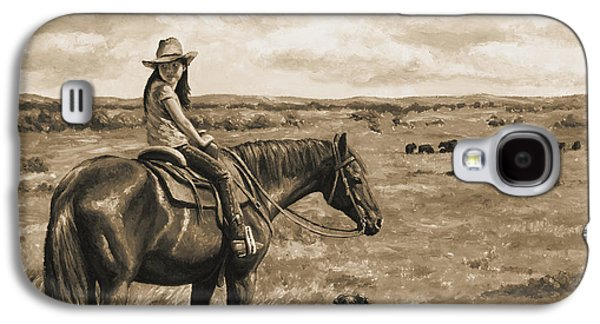 Cattle Dog Paintings Galaxy S4 Cases - Little Cowgirl on Cattle Horse in Sepia Galaxy S4 Case by Crista Forest