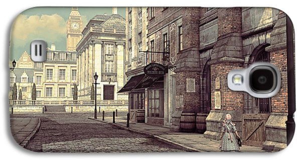 Long Street Digital Art Galaxy S4 Cases - Little Girl in London Galaxy S4 Case by Jutta Maria Pusl