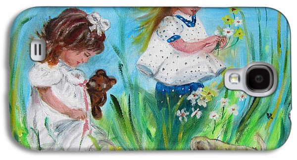Puppies Galaxy S4 Cases - Little Girls Picking Flowers Galaxy S4 Case by Lucille  Valentino
