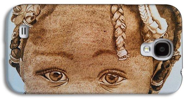 African-american Pyrography Galaxy S4 Cases - Little Kisha Galaxy S4 Case by Marsha Wilson