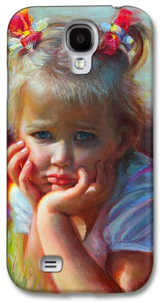 Two Colors Paintings Galaxy S4 Cases - Little Miss Sunshine Galaxy S4 Case by Talya Johnson