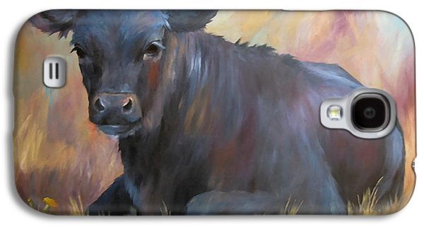 Angus Steer Paintings Galaxy S4 Cases - Little Moo  Angus calf painting southwest art Galaxy S4 Case by Kim Corpany