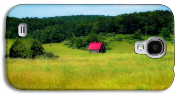 Red Roofed Barn Galaxy S4 Cases - Little Red Barn Galaxy S4 Case by Karen Wiles