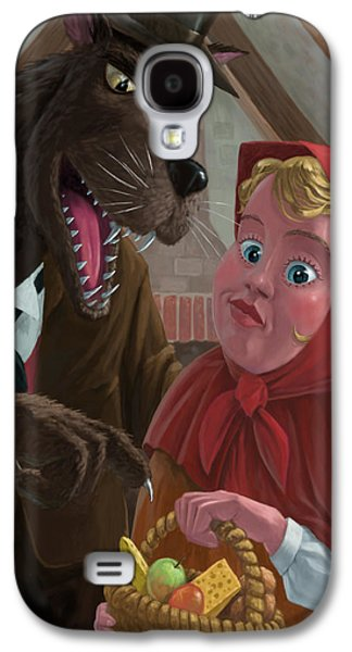 Nursery Rhyme Galaxy S4 Cases - Little Red Riding Hood With Nasty Wolf Galaxy S4 Case by Martin Davey