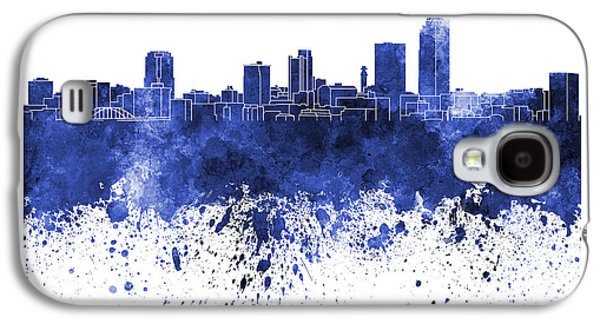 Arkansas Paintings Galaxy S4 Cases - Little Rock skyline in blue watercolor on white background Galaxy S4 Case by Pablo Romero