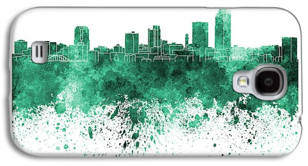 Arkansas Paintings Galaxy S4 Cases - Little Rock skyline in green watercolor on white background Galaxy S4 Case by Pablo Romero