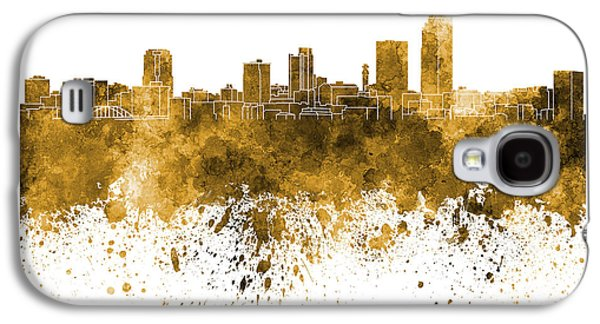 Arkansas Paintings Galaxy S4 Cases - Little Rock skyline in orange watercolor on white background Galaxy S4 Case by Pablo Romero