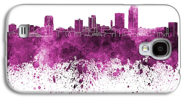 Arkansas Paintings Galaxy S4 Cases - Little Rock skyline in pink watercolor on white background Galaxy S4 Case by Pablo Romero