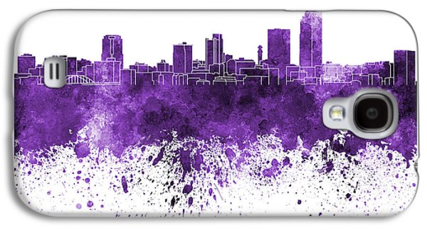 Arkansas Paintings Galaxy S4 Cases - Little Rock skyline in purple watercolor on white background Galaxy S4 Case by Pablo Romero