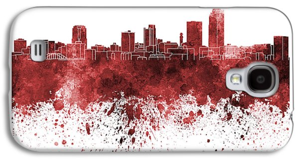 Arkansas Paintings Galaxy S4 Cases - Little Rock skyline in red watercolor on white background Galaxy S4 Case by Pablo Romero